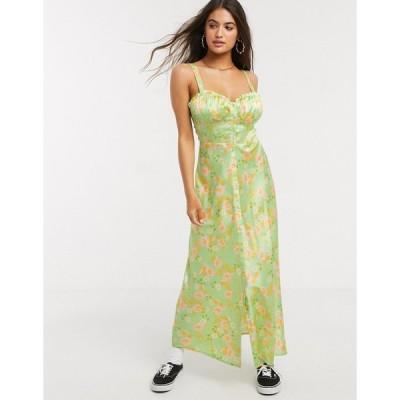 エイソス ミディドレス レディース ASOS DESIGN satin button through cami maxi slip dress in floral print エイソス ASOS
