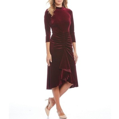 エリザジェイ レディース ワンピース トップス Velvet Mock Neck Ruffle Ruched Detail Hi-Low Hem Midi Dress Burgundy