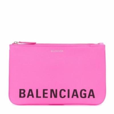 バレンシアガ Balenciaga レディース ポーチ logo leather pouch Acid Pink/L Black