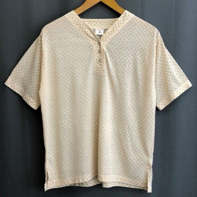 古着 NEW WORLD 総柄Tシャツ ドット柄 ヘンリーネック ベージュ系 レディースM 中古 n024430