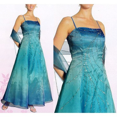 フォーマルドレス [グラデーション・フレア刺繍ロングドレス] パニエ/ショール付き MY-015