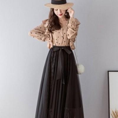 スカート レディース ロング丈 ロング ギャザー メッシュ Aライン 刺繍 ウエストリボン チュール レース かわいい 可愛い 大人 大人女子