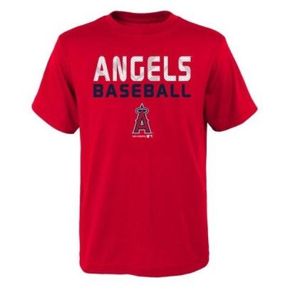 ユニセックス スポーツリーグ メジャーリーグ MLB Los Angeles ANGELS TEE Short Sleeve Boys Team Name and LOGO 100% Cotton Team Color