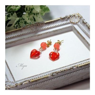 ピアス ハート ヴェネチアンビーズ 赤 オレンジ サーモンピンク ストライプ 女性 プレゼント