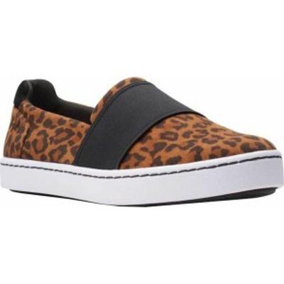 クラークス レディース スニーカー シューズ Women's Clarks Pawley Wes Slip-On Sneaker Dark Tan Leopard Print Suede