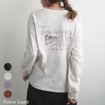 バックプリント バックシャン ポケットTシャツ  ロングTシャツ トップス ロンT ロゴプリント 韓国 ファッション  レターロゴプリントBIGロングTシャツ