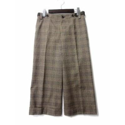 【中古】23区 オンワード樫山 パンツ 34 XS ベージュ グレー カシミヤ混 チェック ワイド レディース