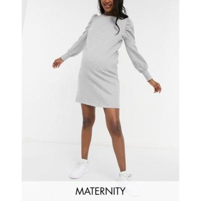 ママライシアス レディース ワンピース トップス Mamalicious Maternity sweatshirt dress with puff sleeves in gray Light