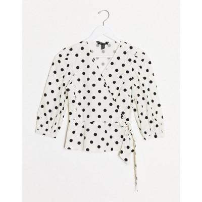 ニュールック New Look レディース ブラウス・シャツ トップス wrap poplin top in white based polka dot ホワイトパターン
