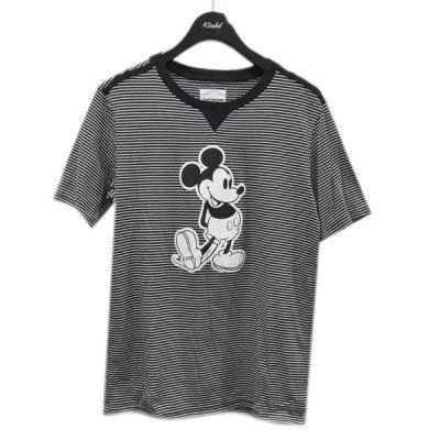 TAKAHIROMIYASHITA TheSoloIst. 20SS ストライプ柄 ミッキーマウスプリントTシャツ ブラック・ホワイト サイズ:48