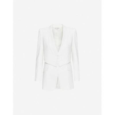 アレキサンダー マックイーン ALEXANDER MCQUEEN レディース スーツ・ジャケット アウター waistcoat-overlay crepe jacket Light Ivory
