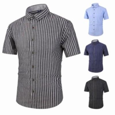 メンズ シャツ ボーダー 半袖 ワイシャツ yシャツ ストライプ ビジネス カジュアル 綿