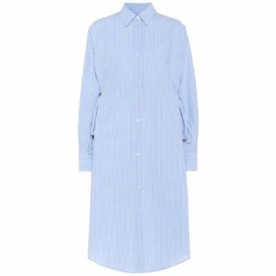 メゾン マルジェラ MM6 Maison Margiela レディース ワンピース シャツワンピース ワンピース・ドレス Striped cotton shirt dress blue