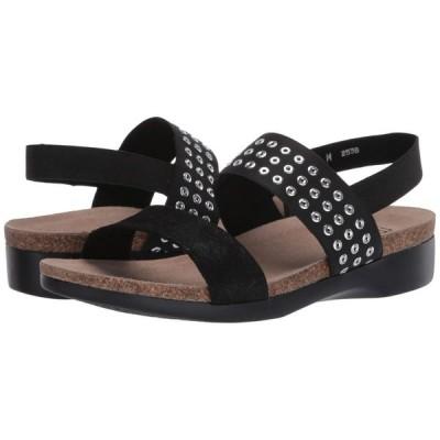 マンロー Munro レディース サンダル・ミュール シューズ・靴 Pisces Black Suede Grommet Fabric Combo
