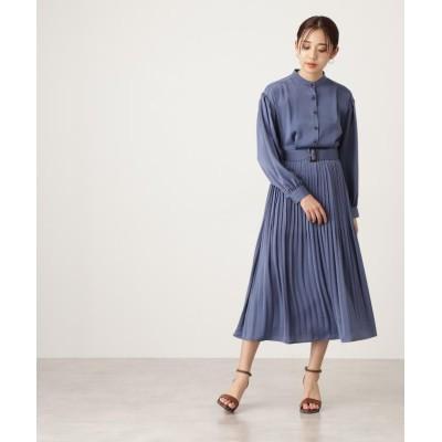 【エヌナチュラルビューティベーシック】 ボリュームスリーブシャツワンピース《S Size Line》 レディース ブルー M N.Natural Beauty Basic