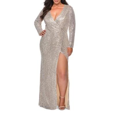 ラフェム レディース ワンピース トップス Plus Size Sequin V-Neck Long-Sleeve Gown with Slit
