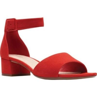 クラークス Clarks レディース サンダル・ミュール アンクルストラップ シューズ・靴 Elisa Dedra Ankle Strap Sandal Red Suede