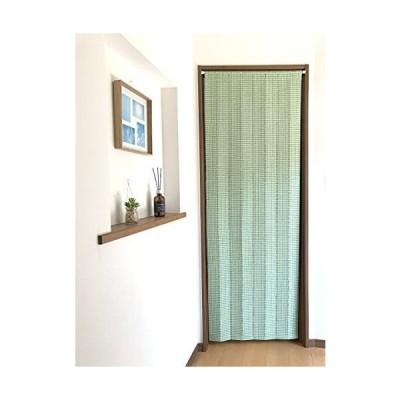 パネルカーテン 厚手生地 間仕切り のれん ロング パーテーション アコーディオン 遮熱 68×195cm ビタミン チェック (グリーン
