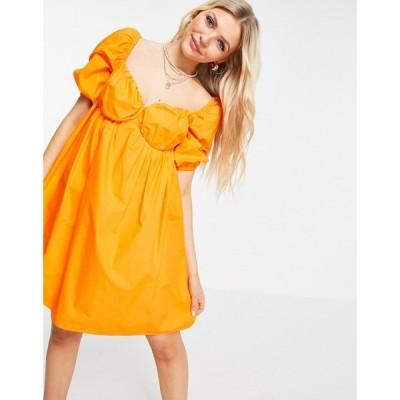 ピンキー Pimkie レディース ワンピース ワンピース・ドレス puff sleeve a line dress in orange オレンジ