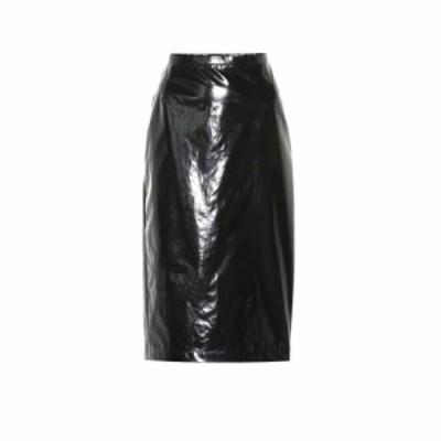 ヌメロ ヴェントゥーノ N21 レディース ひざ丈スカート ペンシルスカート スカート Lacquered cotton pencil skirt Black