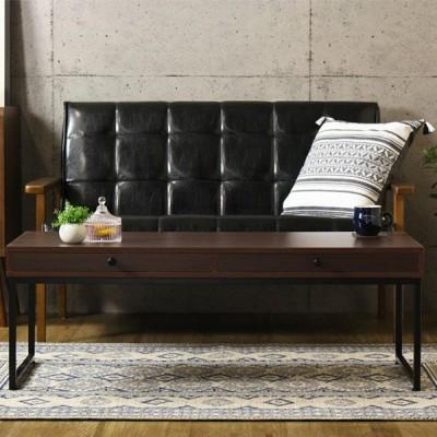 ローテーブル 木目調ダークブラウン 幅110cm スチールフレーム脚 組立式 ( リビングテーブル センターテーブル 机 デスク 引き出し )