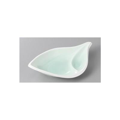 仕切り皿 淵ラスターヒワ吹リーフ仕切り皿 刺身皿 焼き物皿 おしゃれ 和食器 業務用 美濃焼