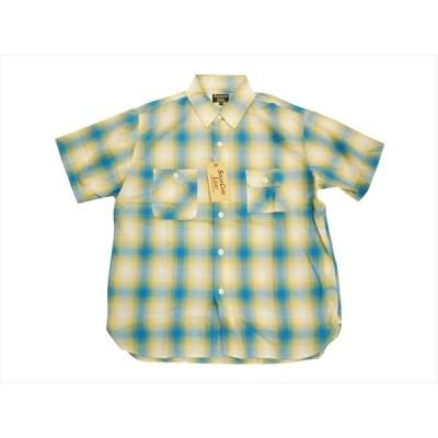 SUGAR CANE Light/シュガーケーン ライト 半袖シャツ SC37897 綿レーヨン オンブレチェック 半袖ワークシャツ ブルー