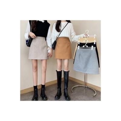 【送料無料】羊毛の ブラック スカート 秋冬 女 ハイウエスト 着やせ 裾 気質 パ | 364331_A64112-3995434