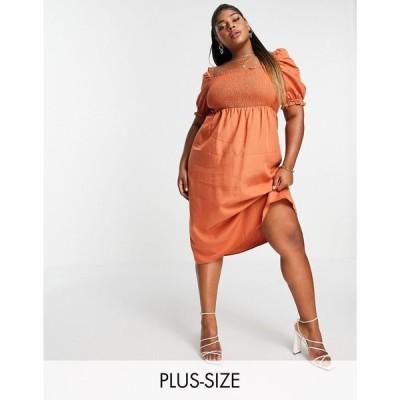 フォーエバーニュー ドレス 大きいサイズ レディース Forever New Curve shirred midi dress in rust エイソス ASOS