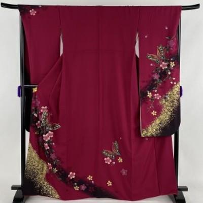 振袖 美品 名品 桜 蝶 金彩 ぼかし 赤紫 袷 身丈167.5cm 裄丈69cm L 正絹 中古