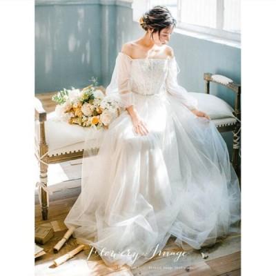 ウェティグドレス 長袖 Aラインドレス パーティードレス ロングドレス 結婚式 二次会 海外挙式 花嫁 安い 大きいサイズ 発表会 おしゃれ 前撮り 披露宴