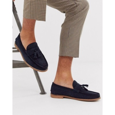 エイソス ローファー メンズ ASOS DESIGN tassel loafers in navy suede with natural sole エイソス ASOS ネイビー 藍