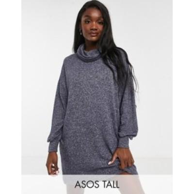 エイソス レディース ワンピース トップス ASOS DESIGN Tall super soft long sleeve roll neck mini dress in charcoal gray heather Ch