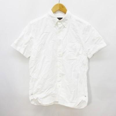 【中古】ビームスプラス BEAMS+ シャツ 半袖 ボタンダウン 無地 綿 コットン 100% S 白 ホワイト系 ●26 メンズ