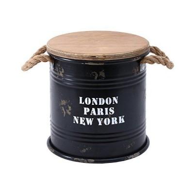 不二貿易 ブリキバケツ スツール 直径25cm ブラック 収納付き 26170