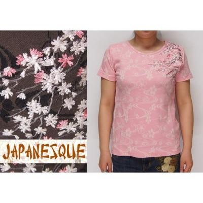 ジャパネスク レディース 満開桜刺繍 桜流水ジャガード 和柄Tシャツ/半袖/4WJT-601