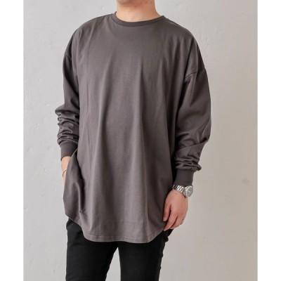 tシャツ Tシャツ 重ね着しやすいシャツテールロゴT Lサイズ
