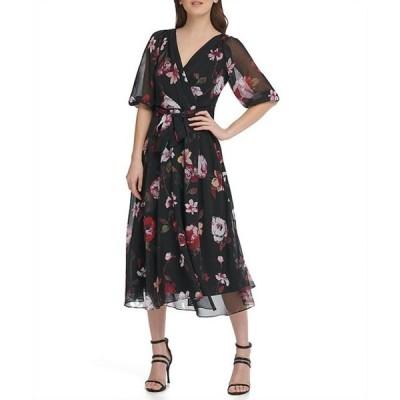ダナ キャラン ニューヨーク レディース ワンピース トップス 3/4 Balloon Sleeve Floral Print Chiffon Faux Wrap Midi Dress