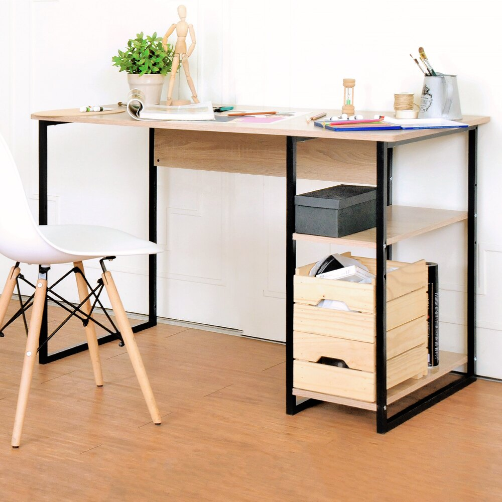 《HOPMA》書桌/電腦桌/DIY 工業風單邊層架工作桌 E-D420