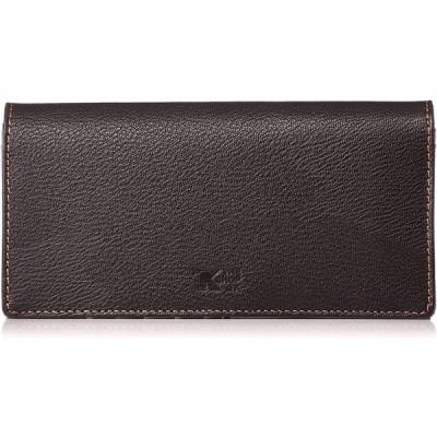 [ザ ショップ ティーケー] 財布 メンズ 二つ折り 長財布 ゴート型押し ダークブラウン