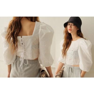 シャツ ブラウス 刺繍 ショット丈 透け編み ボリューム袖 無地 シンプル