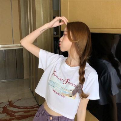 Tシャツ レディース おしゃれ ショート丈 半袖 春 夏 コットン ゆったりTシャツ ホワイト へそ出しTシャツ 可愛い M L XL 上着 レディースファッション