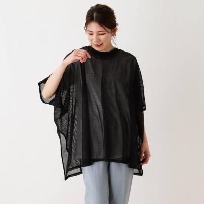 シューラルー SHOO-LA-RUE 【2点セット】透かし編みドルマンプルオーバー×Tシャツ (ブラック)