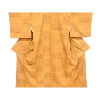 宗sou 抽象模様織り出し手織り真綿紬着物【リサイクル】【着】