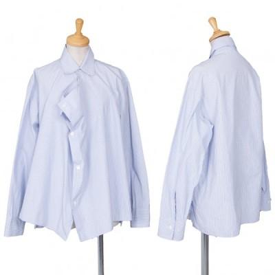 ワイズY's ストライプ前立ドレープデザインシャツ 青白4 【レディース】