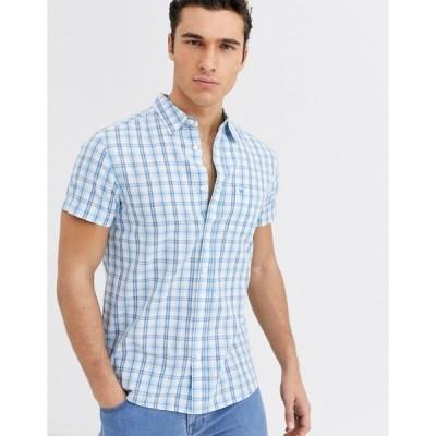 ラングラー メンズ シャツ トップス Wrangler plaid check short sleeve shirt in blue Blue