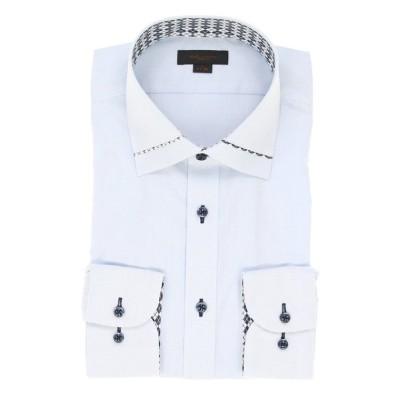 【タカキュー】 形態安定スリムフィット ワイドカラー衿切替長袖ビジネスドレスシャツ/ワイシャツ メンズ サックス M:39-84 TAKA-Q