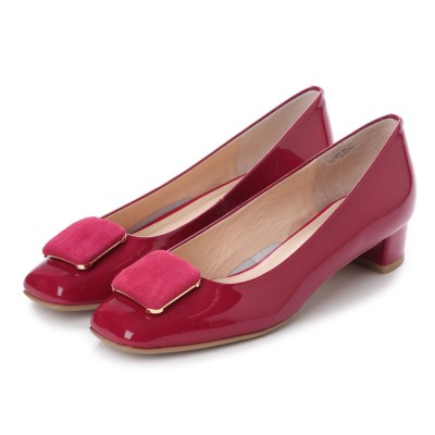 アンタイトル シューズ UNTITLED shoes バックルデザインパンプス (ピンクエナメル)