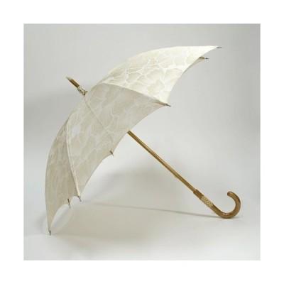 日傘 牡丹柄 白撚金黄色