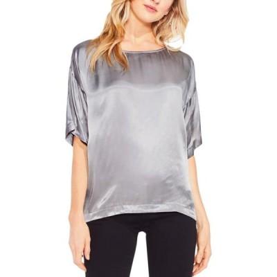 レディース 衣類 トップス Two by Vince Camuto Womens Satin Metallic T-Shirt Tシャツ